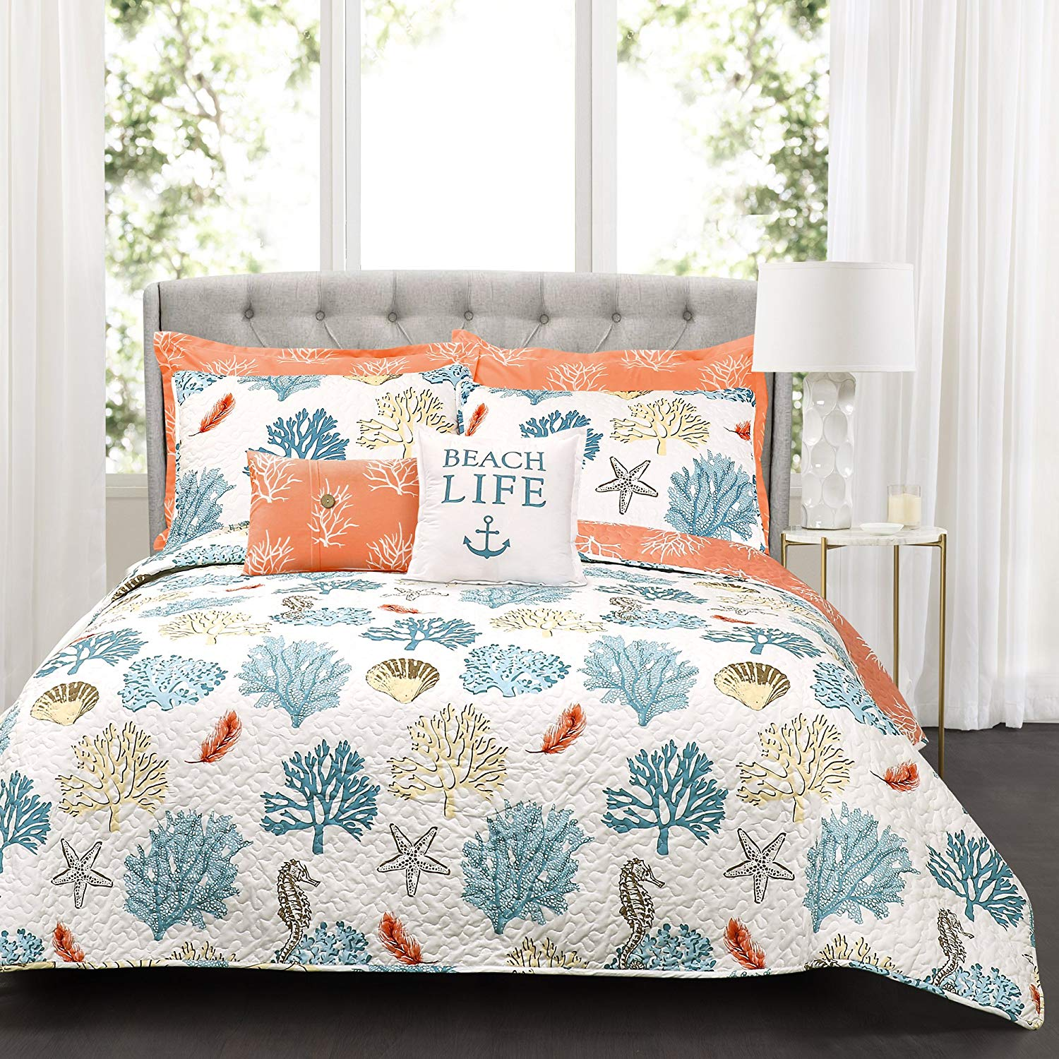 Luxury 7pc Coral Teal Beach Starfish Comforter Set And Decorative Pillows